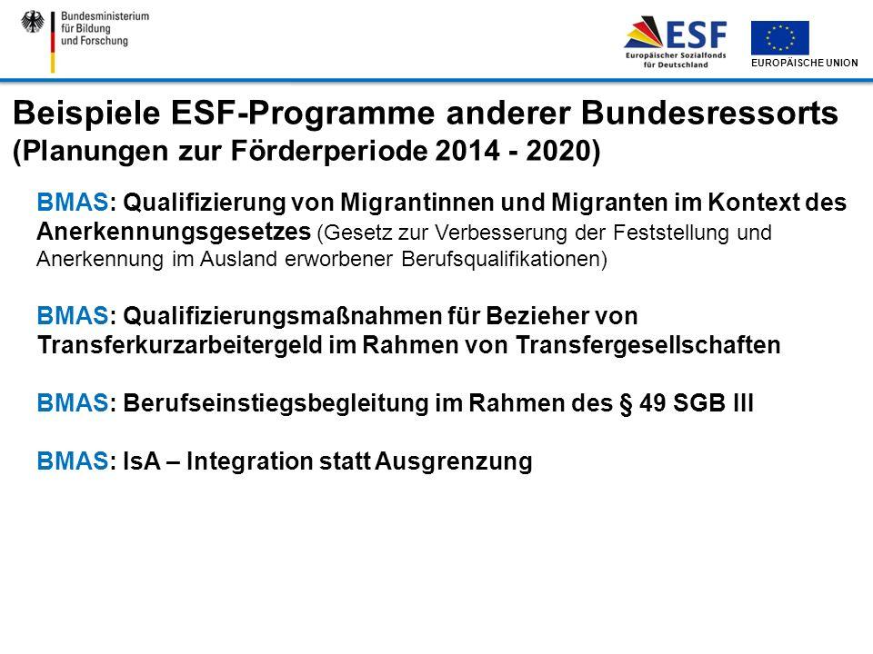 EUROPÄISCHE UNION Beispiele ESF-Programme anderer Bundesressorts (Planungen zur Förderperiode 2014 - 2020) BMAS: Qualifizierung von Migrantinnen und M