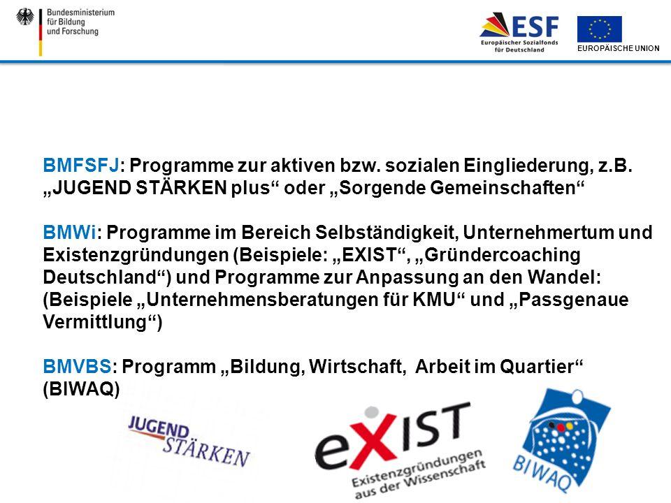 EUROPÄISCHE UNION BMFSFJ: Programme zur aktiven bzw. sozialen Eingliederung, z.B. JUGEND STÄRKEN plus oder Sorgende Gemeinschaften BMWi: Programme im