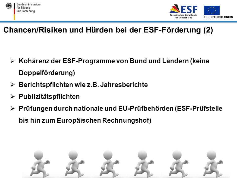 EUROPÄISCHE UNION Chancen/Risiken und Hürden bei der ESF-Förderung (2) Kohärenz der ESF-Programme von Bund und Ländern (keine Doppelförderung) Bericht