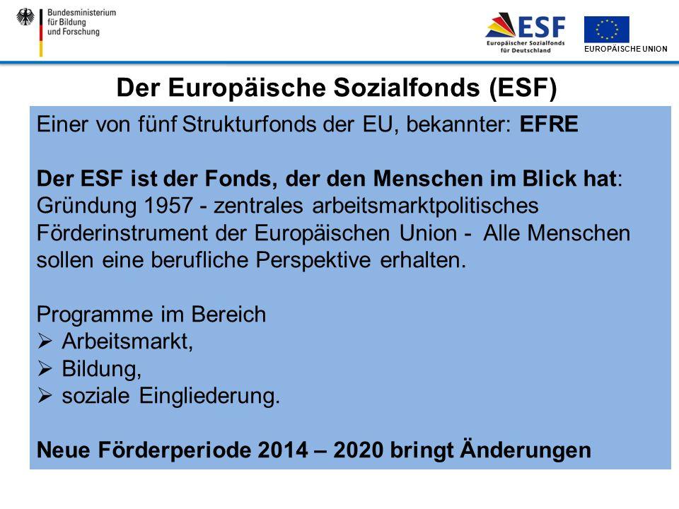 EUROPÄISCHE UNION Der Europäische Sozialfonds (ESF) Einer von fünf Strukturfonds der EU, bekannter: EFRE Der ESF ist der Fonds, der den Menschen im Bl
