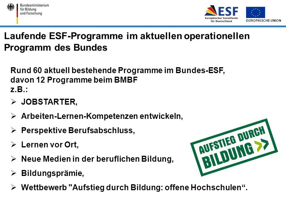 EUROPÄISCHE UNION Laufende ESF-Programme im aktuellen operationellen Programm des Bundes Rund 60 aktuell bestehende Programme im Bundes-ESF, davon 12