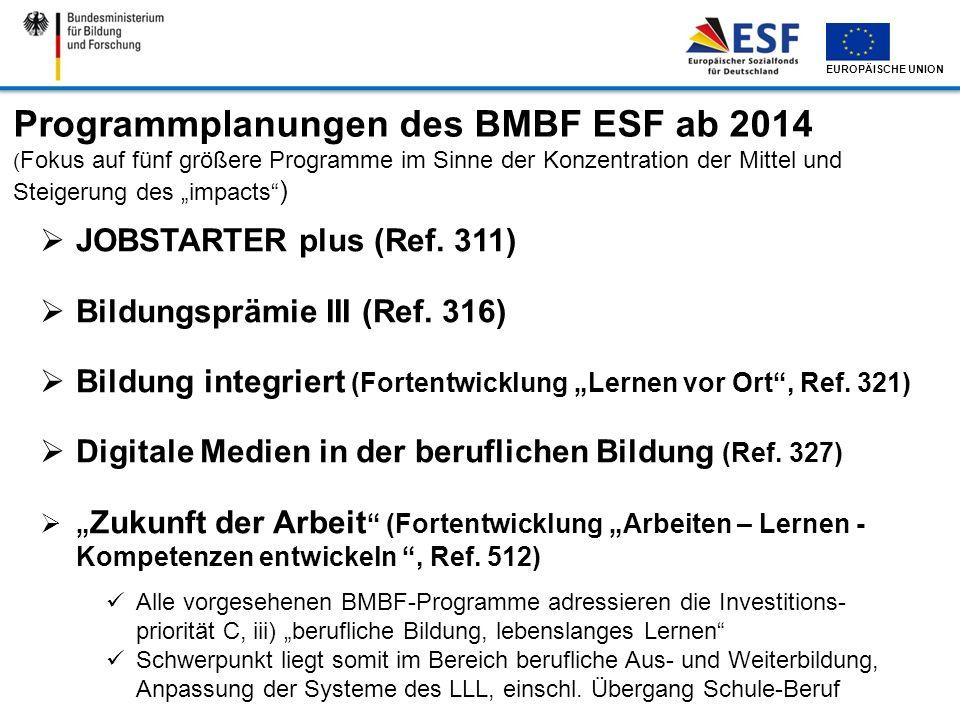 EUROPÄISCHE UNION Alle vorgesehenen BMBF-Programme adressieren die Investitions- priorität C, iii) berufliche Bildung, lebenslanges Lernen Schwerpunkt