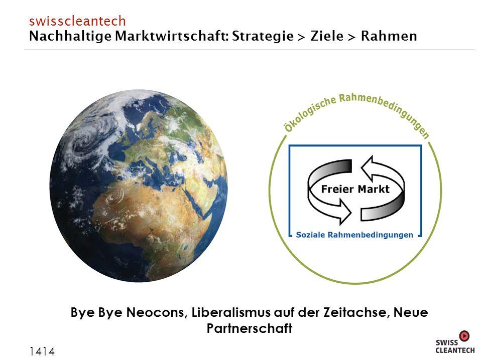 swisscleantech Nachhaltige Marktwirtschaft: Strategie > Ziele > Rahmen 1414 Bye Bye Neocons, Liberalismus auf der Zeitachse, Neue Partnerschaft