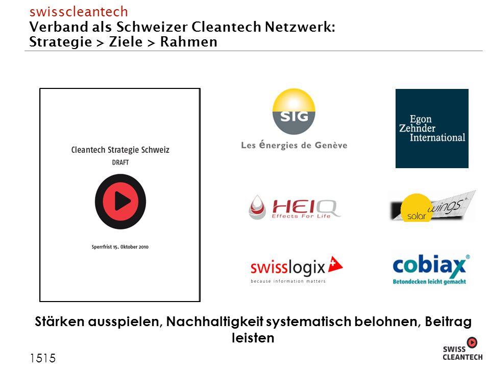 swisscleantech Verband als Schweizer Cleantech Netzwerk: Strategie > Ziele > Rahmen 1515 Stärken ausspielen, Nachhaltigkeit systematisch belohnen, Beitrag leisten