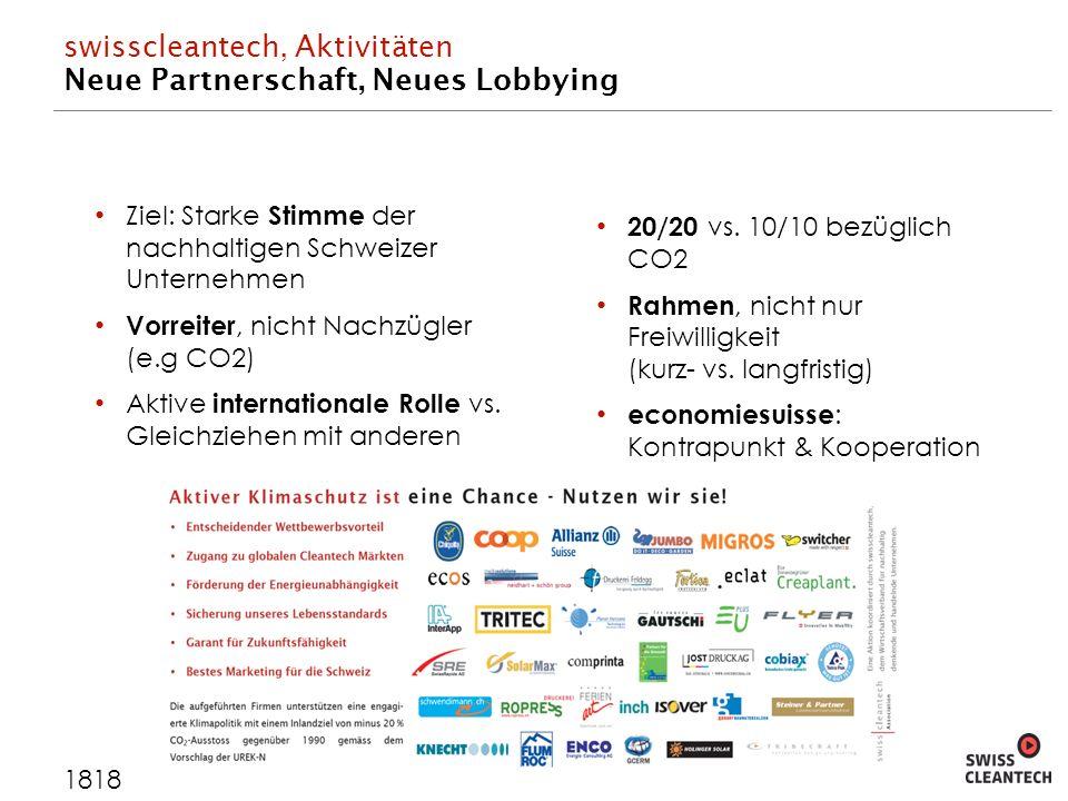 swisscleantech, Aktivitäten Neue Partnerschaft, Neues Lobbying 1818 Ziel: Starke Stimme der nachhaltigen Schweizer Unternehmen Vorreiter, nicht Nachzügler (e.g CO2) Aktive internationale Rolle vs.