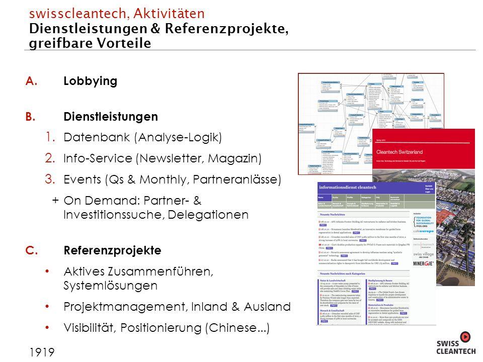 swisscleantech, Aktivitäten Dienstleistungen & Referenzprojekte, greifbare Vorteile A.Lobbying B.Dienstleistungen 1.