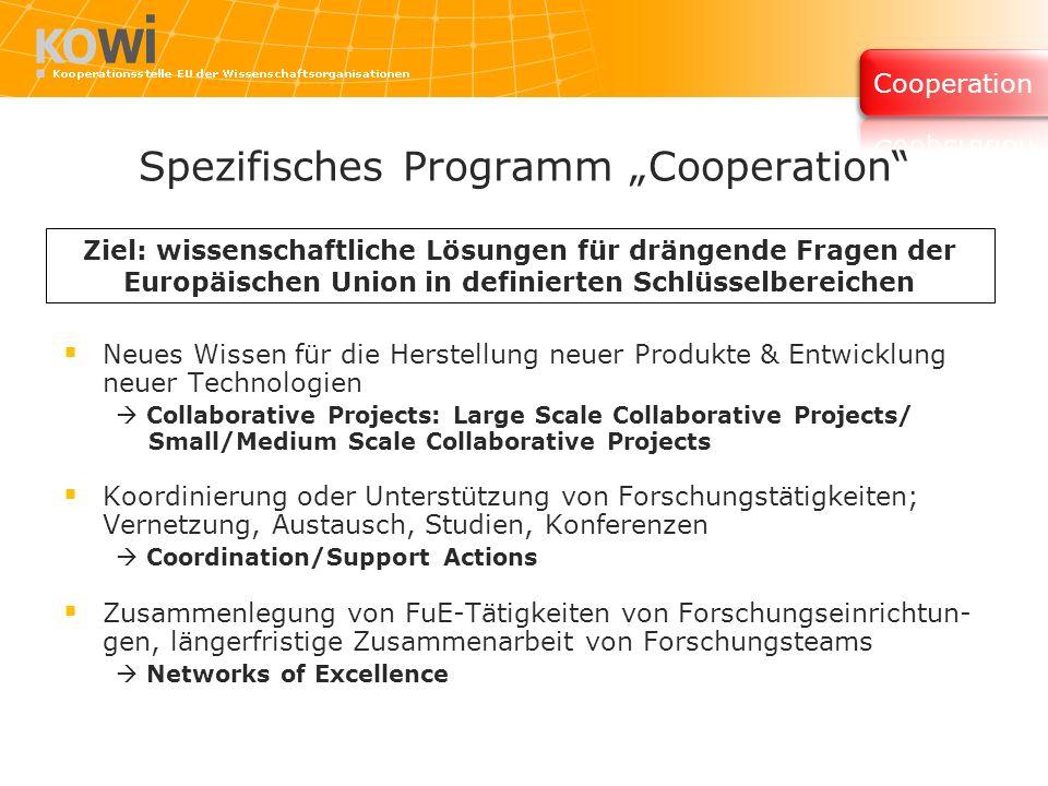 Spezifisches Programm Cooperation Neues Wissen für die Herstellung neuer Produkte & Entwicklung neuer Technologien Collaborative Projects: Large Scale