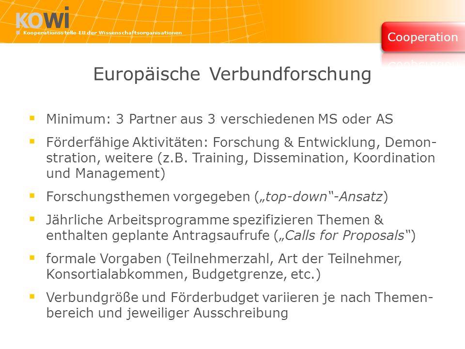 Europäische Verbundforschung Minimum: 3 Partner aus 3 verschiedenen MS oder AS Förderfähige Aktivitäten: Forschung & Entwicklung, Demon- stration, weitere (z.B.