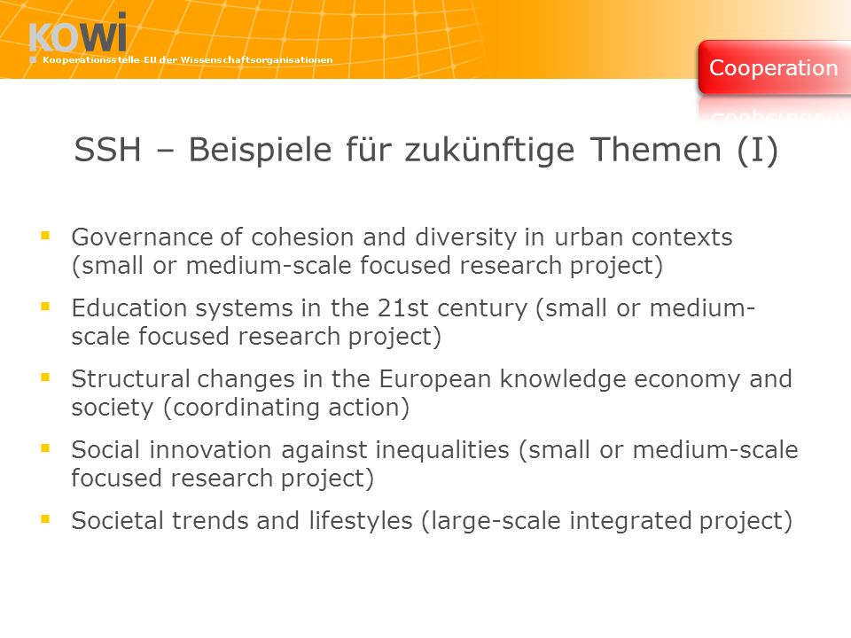 SSH – Beispiele für zukünftige Themen (I) Governance of cohesion and diversity in urban contexts (small or medium-scale focused research project) Education systems in the 21st century (small or medium- scale focused research project) Structural changes in the European knowledge economy and society (coordinating action) Social innovation against inequalities (small or medium-scale focused research project) Societal trends and lifestyles (large-scale integrated project)