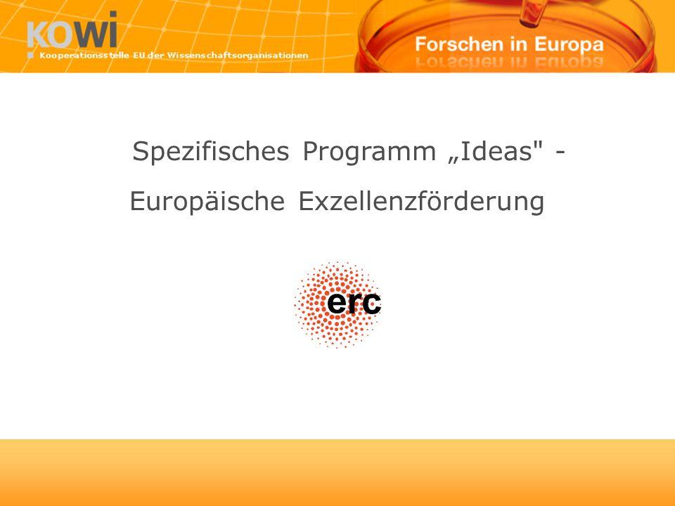 Europäische Exzellenzförderung Spezifisches Programm Ideas