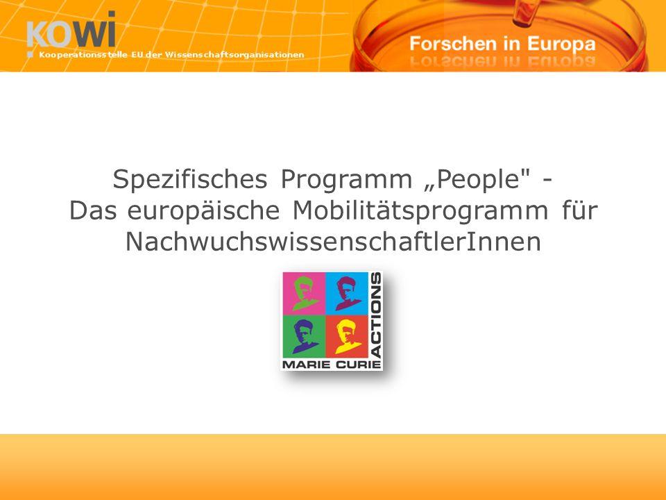 Spezifisches Programm People - Das europäische Mobilitätsprogramm für NachwuchswissenschaftlerInnen