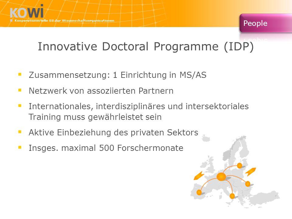 Innovative Doctoral Programme (IDP) Zusammensetzung: 1 Einrichtung in MS/AS Netzwerk von assoziierten Partnern Internationales, interdisziplinäres und intersektoriales Training muss gewährleistet sein Aktive Einbeziehung des privaten Sektors Insges.