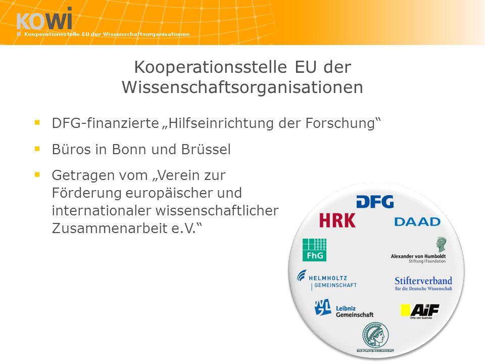 DFG-finanzierte Hilfseinrichtung der Forschung Büros in Bonn und Brüssel Getragen vom Verein zur Förderung europäischer und internationaler wissenscha