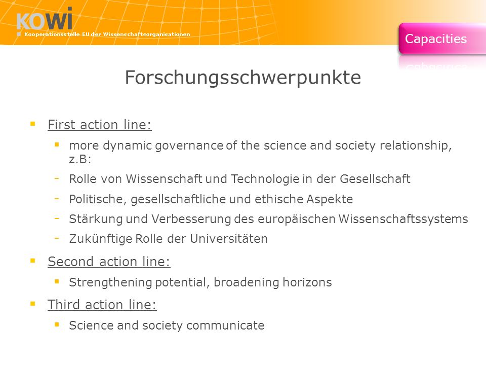 Forschungsschwerpunkte First action line: more dynamic governance of the science and society relationship, z.B: - Rolle von Wissenschaft und Technologie in der Gesellschaft - Politische, gesellschaftliche und ethische Aspekte - Stärkung und Verbesserung des europäischen Wissenschaftssystems - Zukünftige Rolle der Universitäten Second action line: Strengthening potential, broadening horizons Third action line: Science and society communicate