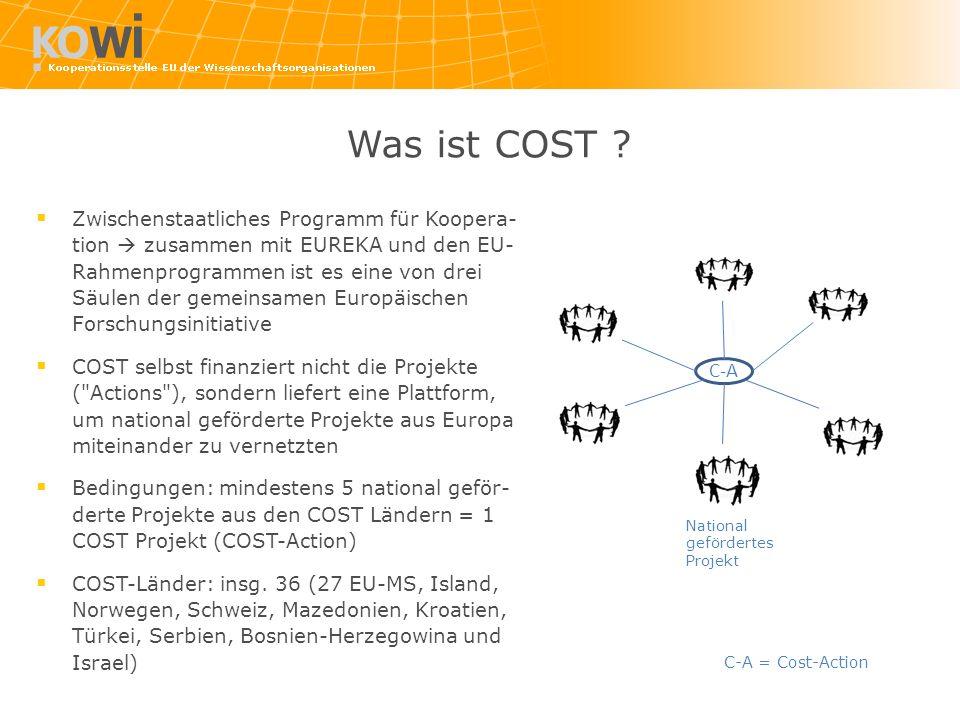 Was ist COST ? Zwischenstaatliches Programm für Koopera- tion zusammen mit EUREKA und den EU- Rahmenprogrammen ist es eine von drei Säulen der gemeins