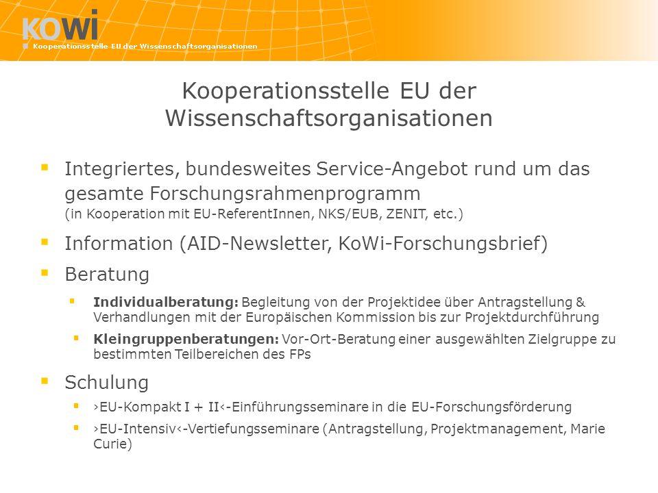 Integriertes, bundesweites Service-Angebot rund um das gesamte Forschungsrahmenprogramm (in Kooperation mit EU-ReferentInnen, NKS/EUB, ZENIT, etc.) In