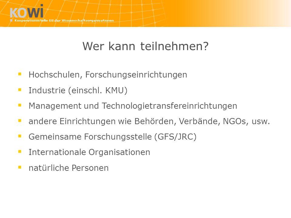Wer kann teilnehmen? Hochschulen, Forschungseinrichtungen Industrie (einschl. KMU) Management und Technologietransfereinrichtungen andere Einrichtunge