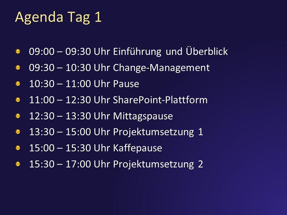 Agenda Tag 1 09:00 – 09:30 Uhr Einführung und Überblick 09:30 – 10:30 Uhr Change-Management 10:30 – 11:00 Uhr Pause 11:00 – 12:30 Uhr SharePoint-Plattform 12:30 – 13:30 Uhr Mittagspause 13:30 – 15:00 Uhr Projektumsetzung 1 15:00 – 15:30 Uhr Kaffepause 15:30 – 17:00 Uhr Projektumsetzung 2