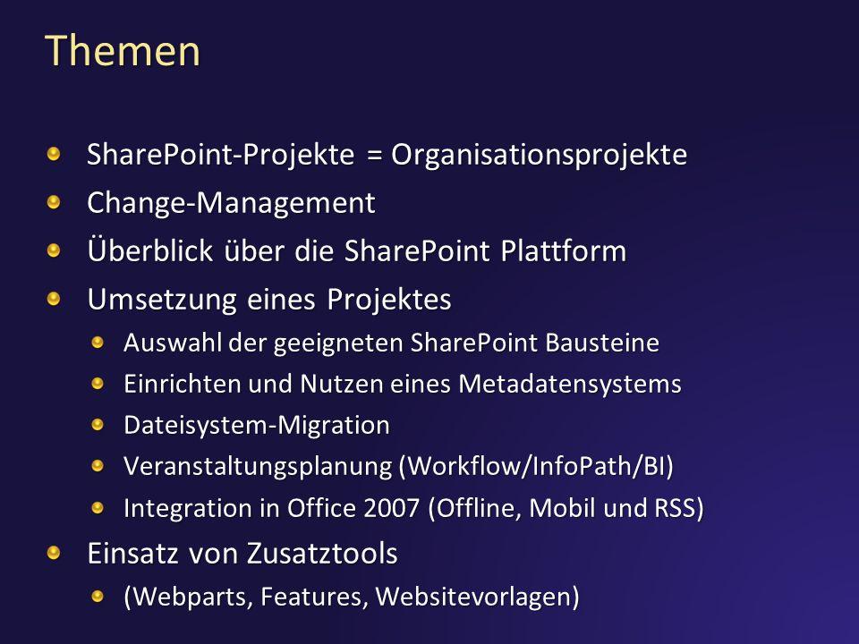Themen SharePoint-Projekte = Organisationsprojekte Change-Management Überblick über die SharePoint Plattform Umsetzung eines Projektes Auswahl der geeigneten SharePoint Bausteine Einrichten und Nutzen eines Metadatensystems Dateisystem-Migration Veranstaltungsplanung (Workflow/InfoPath/BI) Integration in Office 2007 (Offline, Mobil und RSS) Einsatz von Zusatztools (Webparts, Features, Websitevorlagen)