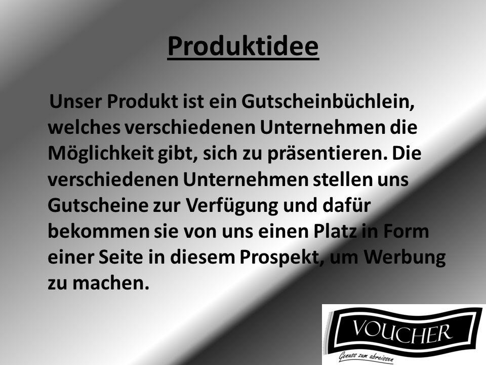 Produktidee Unser Produkt ist ein Gutscheinbüchlein, welches verschiedenen Unternehmen die Möglichkeit gibt, sich zu präsentieren. Die verschiedenen U