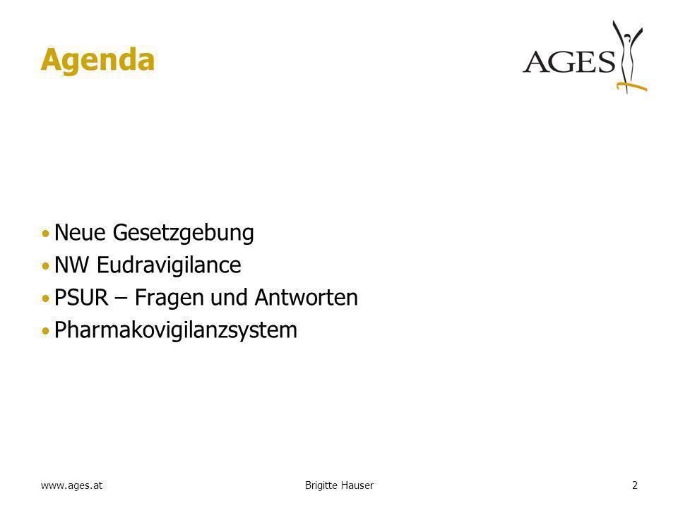 www.ages.at Agenda Neue Gesetzgebung NW Eudravigilance PSUR – Fragen und Antworten Pharmakovigilanzsystem 2Brigitte Hauser