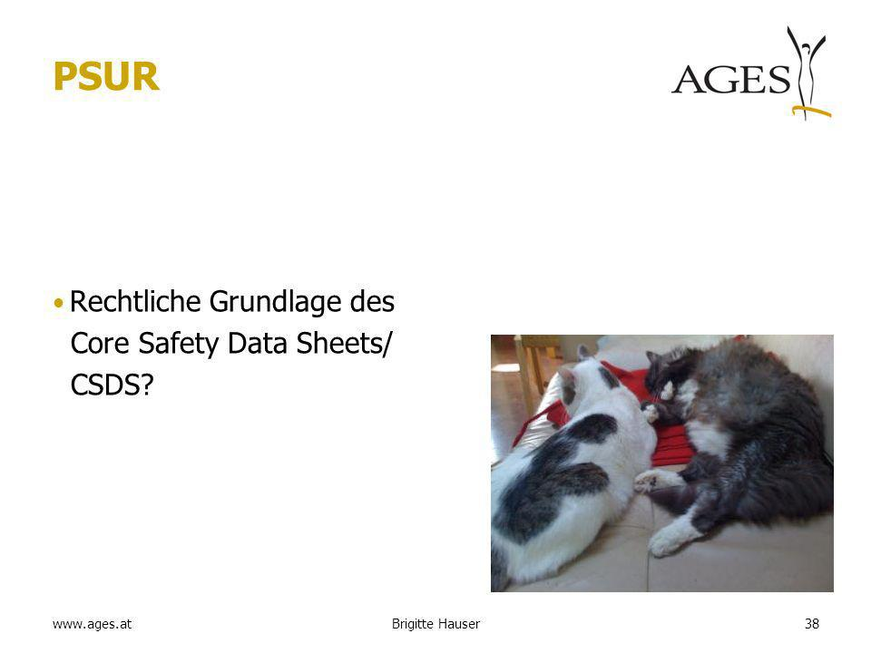 www.ages.at PSUR Rechtliche Grundlage des Core Safety Data Sheets/ CSDS Brigitte Hauser38