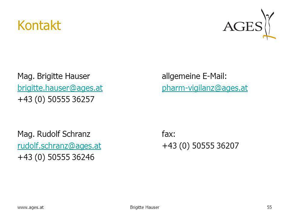 www.ages.at Kontakt Mag. Brigitte Hauserallgemeine E-Mail: brigitte.hauser@ages.atbrigitte.hauser@ages.at pharm-vigilanz@ages.atpharm-vigilanz@ages.at