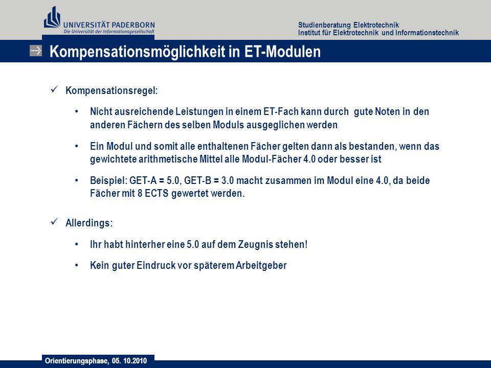 Orientierungsphase, 05. 10.2010 Studienberatung Elektrotechnik Institut für Elektrotechnik und Informationstechnik Kompensationsregel: Nicht ausreiche