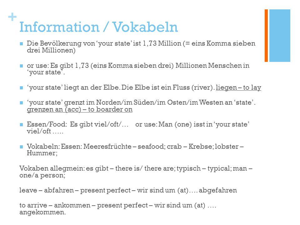 + Information / Vokabeln Die Bevölkerung von your state ist 1,73 Million (= eins Komma sieben drei Millionen) or use: Es gibt 1,73 (eins Komma sieben