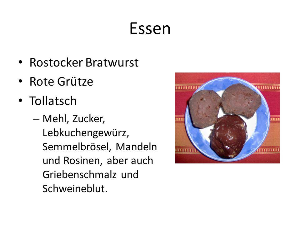 Essen Rostocker Bratwurst Rote Grütze Tollatsch – Mehl, Zucker, Lebkuchengewürz, Semmelbrösel, Mandeln und Rosinen, aber auch Griebenschmalz und Schwe