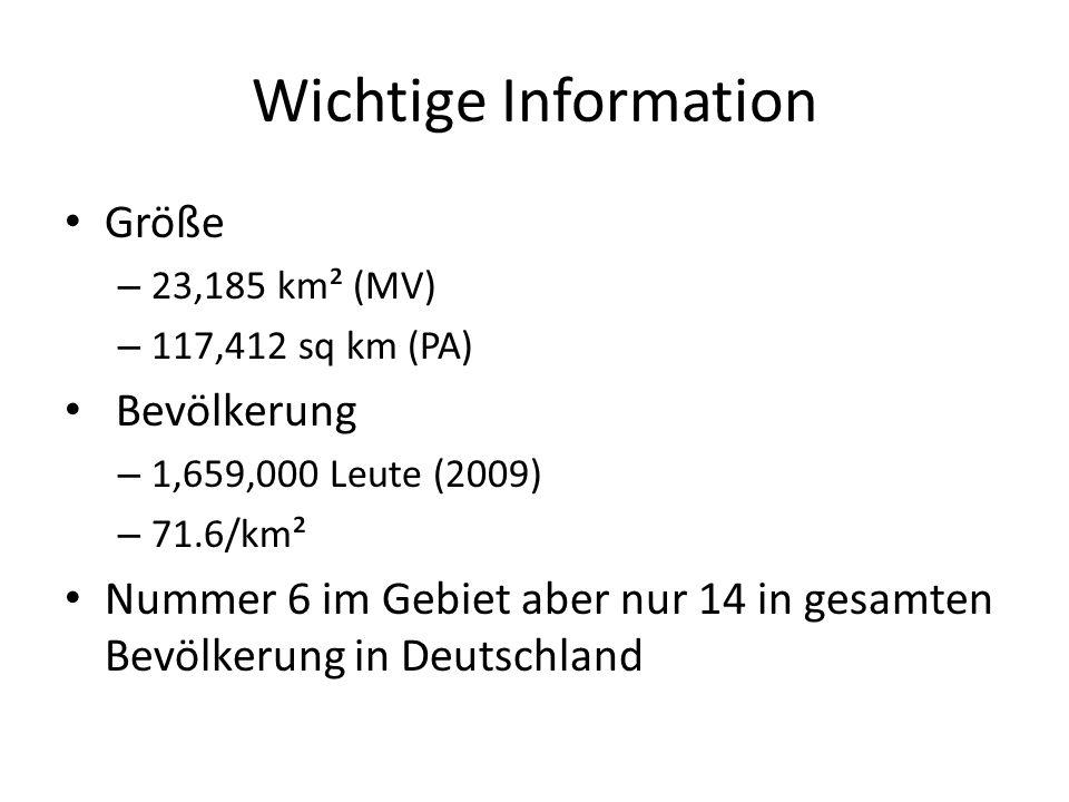 Wichtige Information Größe – 23,185 km² (MV) – 117,412 sq km (PA) Bevölkerung – 1,659,000 Leute (2009) – 71.6/km² Nummer 6 im Gebiet aber nur 14 in ge
