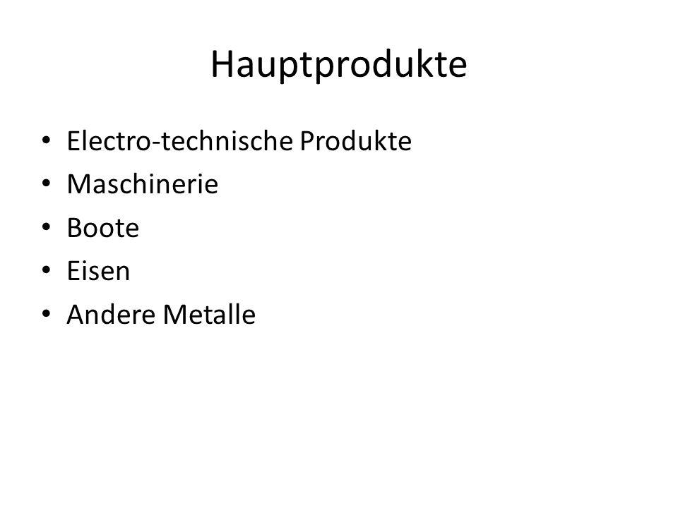 Hauptprodukte Electro-technische Produkte Maschinerie Boote Eisen Andere Metalle