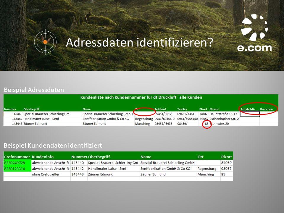 Beispiel Adressdaten Beispiel Kundendaten identifiziert Adressdaten identifizieren?