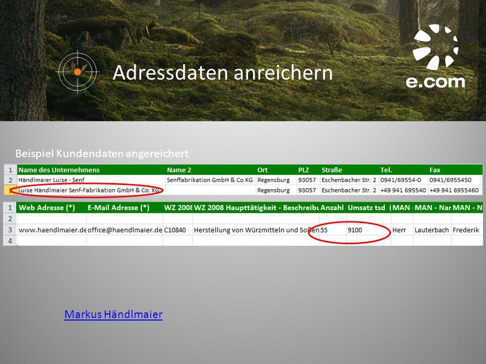 Beispiel Kundendaten angereichert Markus Händlmaier Adressdaten anreichern