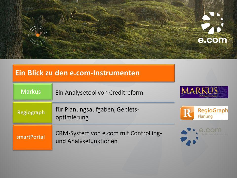 Ein Analysetool von Creditreform Markus für Planungsaufgaben, Gebiets- optimierung Regiograph CRM-System von e.com mit Controlling- und Analysefunktio