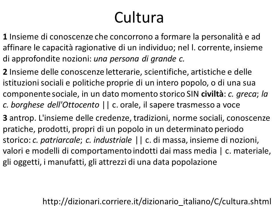 Cultura 1 Insieme di conoscenze che concorrono a formare la personalità e ad affinare le capacità ragionative di un individuo; nel l.