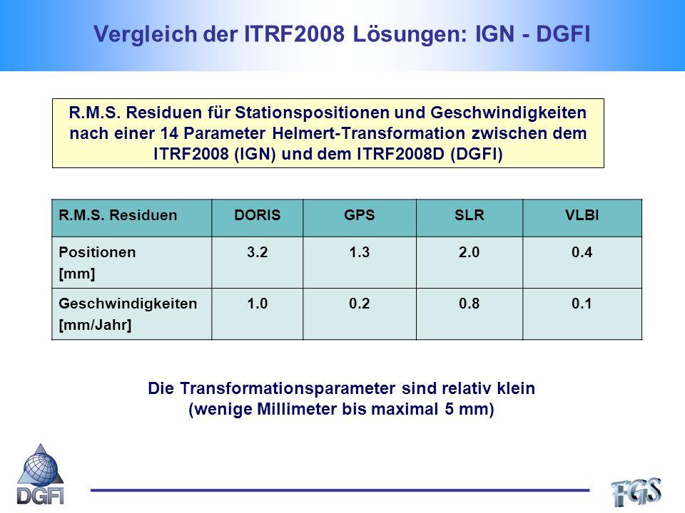 Vergleich der ITRF2008 Lösungen: IGN - DGFI R.M.S.