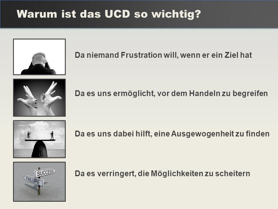 Warum ist das UCD so wichtig? Da niemand Frustration will, wenn er ein Ziel hat Da es uns ermöglicht, vor dem Handeln zu begreifen Da es uns dabei hil