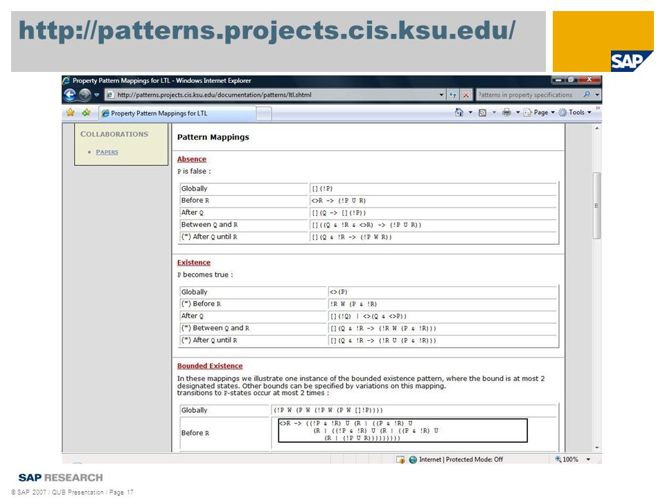 http://patterns.projects.cis.ksu.edu/ © SAP 2007 / QUB Presentation / Page 17