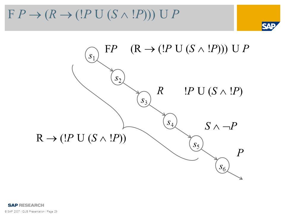 F P (R (!P U (S !P))) U P © SAP 2007 / QUB Presentation / Page 29 s1s1 s2s2 s3s3 s4s4 s5s5 s6s6 P FPFP R S P !P U (S !P) R (!P U (S !P)) (R (!P U (S !P))) U P