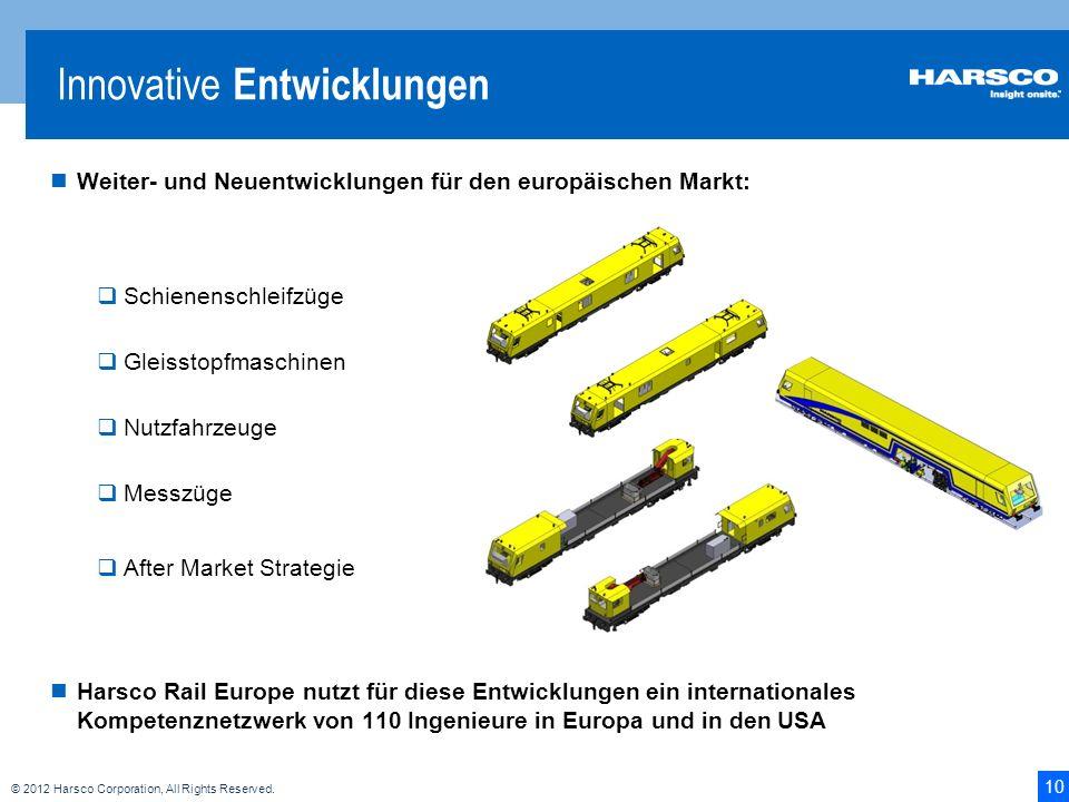 10 © 2012 Harsco Corporation, All Rights Reserved. Weiter- und Neuentwicklungen für den europäischen Markt: Schienenschleifzüge Gleisstopfmaschinen Nu