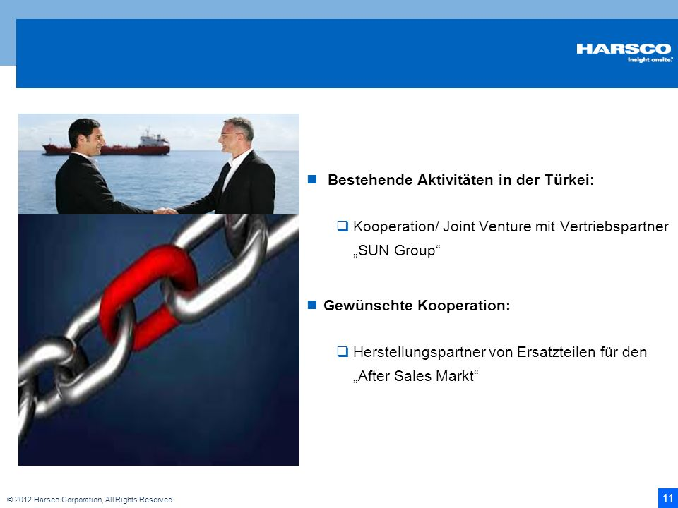 11 © 2012 Harsco Corporation, All Rights Reserved. Bestehende Aktivitäten in der Türkei: Kooperation/ Joint Venture mit Vertriebspartner SUN Group Gew