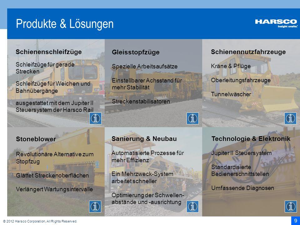 9 © 2012 Harsco Corporation, All Rights Reserved. Produkte & Lösungen Schienenschleifzüge Schleifzüge für gerade Strecken Schleifzüge für Weichen und