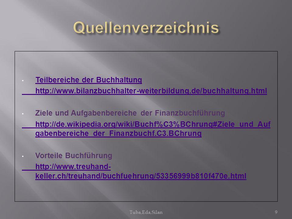 Teilbereiche der Buchhaltung http://www.bilanzbuchhalter-weiterbildung.de/buchhaltung.html Ziele und Aufgabenbereiche der Finanzbuchführung http://de.
