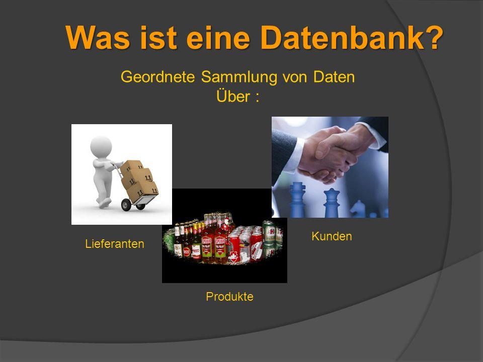 Geordnete Sammlung von Daten Über : Produkte Lieferanten Kunden Was ist eine Datenbank?