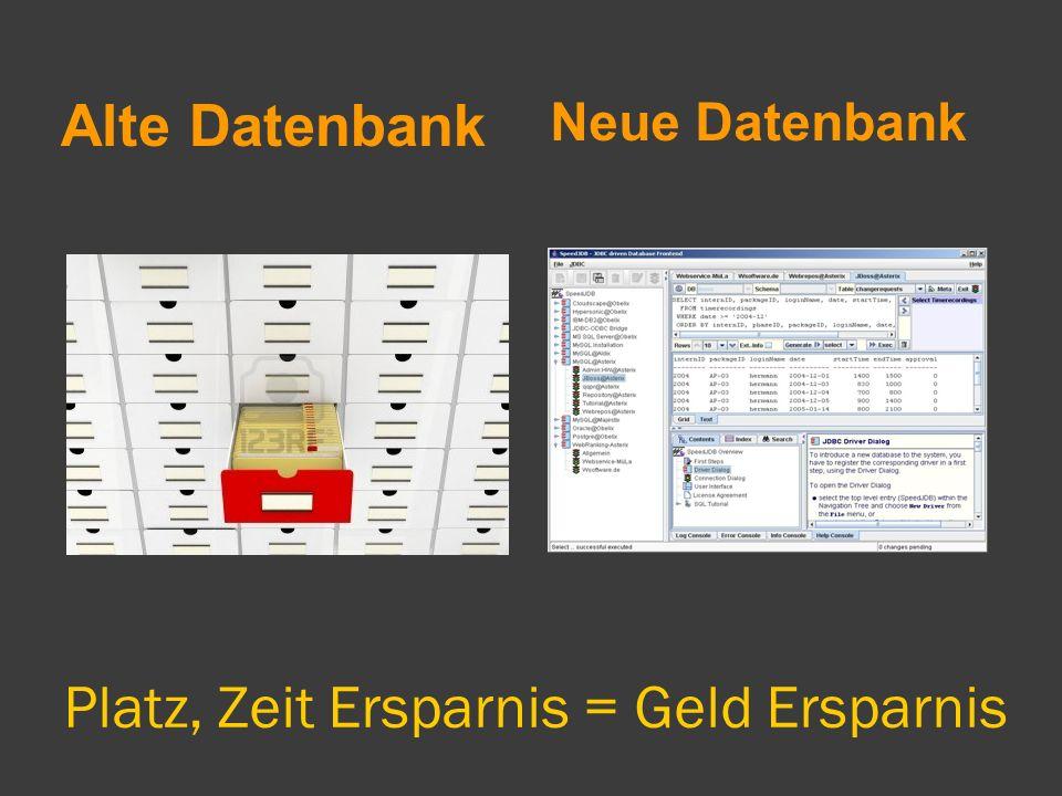 Platz, Zeit Ersparnis = Geld Ersparnis Alte Datenbank Neue Datenbank