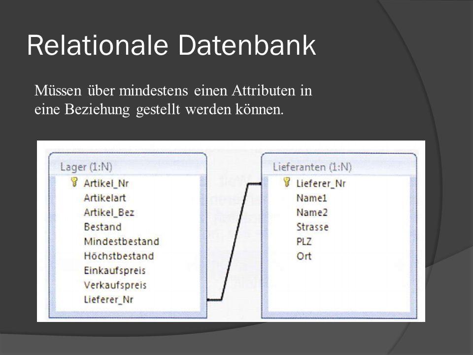Relationale Datenbank Müssen über mindestens einen Attributen in eine Beziehung gestellt werden können.