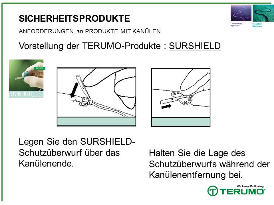 SICHERHEITSPRODUKTE ANFORDERUNGEN an PRODUKTE MIT KANÜLEN Vorstellung der TERUMO-Produkte : SURSHIELD Legen Sie den SURSHIELD- Schutzüberwurf über das