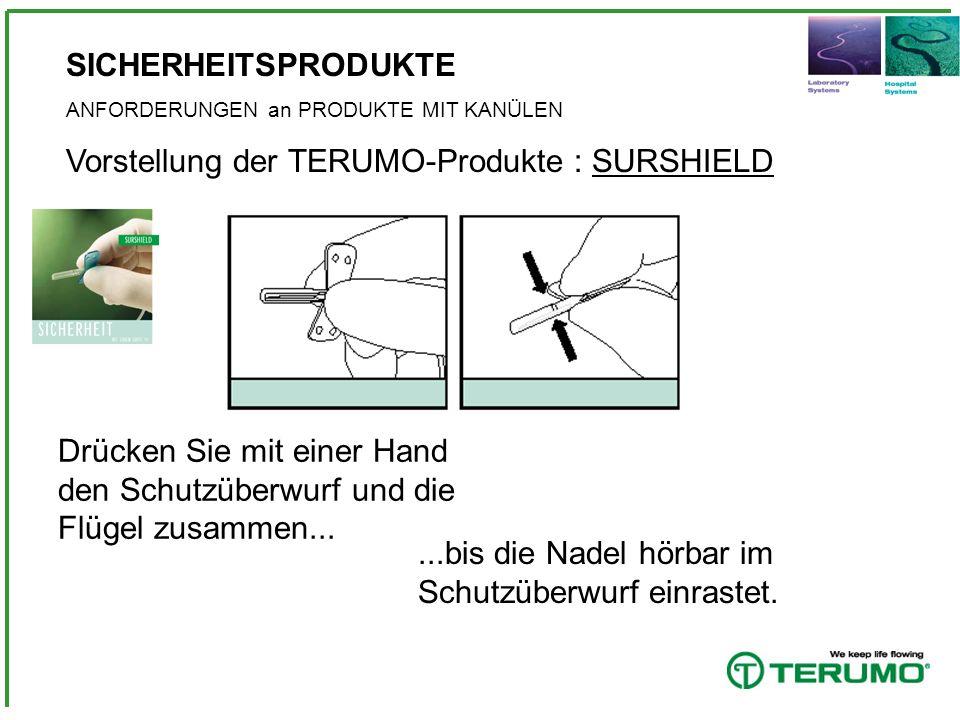 SICHERHEITSPRODUKTE ANFORDERUNGEN an PRODUKTE MIT KANÜLEN Vorstellung der TERUMO-Produkte : SURGUARD Zum Entfernen des Kanülenprotektors die Kanüle auf die Spritze drücken und dann den Kanülenprotektor abziehen.