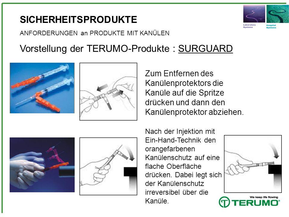 SICHERHEITSPRODUKTE ANFORDERUNGEN an PRODUKTE MIT KANÜLEN Vorstellung der TERUMO-Produkte : SURGUARD Zum Entfernen des Kanülenprotektors die Kanüle au